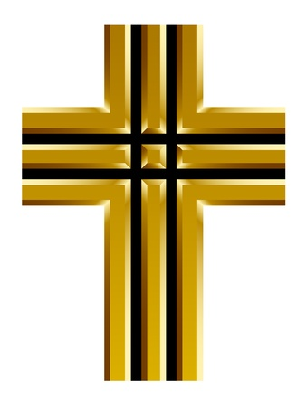 the christian religion: golden christian cross Illustration
