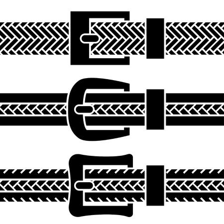 vector buckle braided belt black symbols Vector