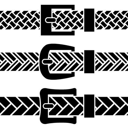 vector buckle braided belt black symbols Stock Vector - 19587377