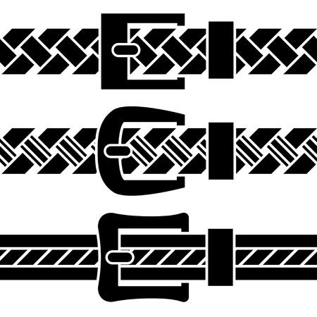 belt buckle: vector buckle braided belt black symbols Illustration