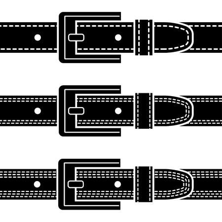 vector buckle quilted belt black symbols Stock Vector - 19587414