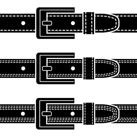 leather stitch: vector buckle quilted belt black symbols Illustration