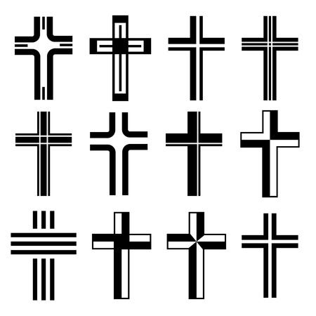 cross tattoo symbol: vector christian crosses Illustration