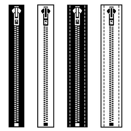 black and white sewing: vector zipper black white symbols