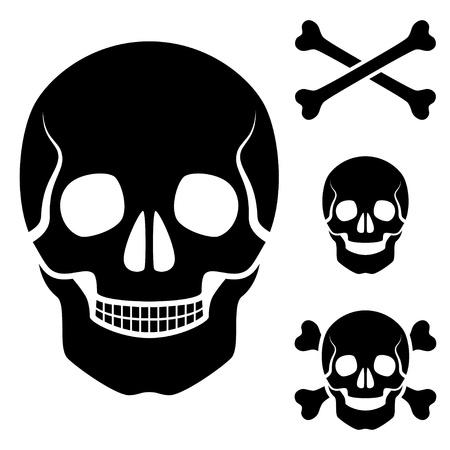 skull and bones: vector human skull cross bones symbol