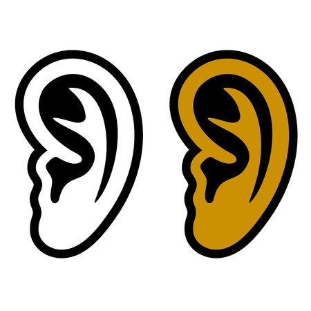 listening to people: human ear symbols Illustration