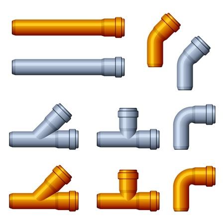 kunststoff rohr: Vektor PVC Kanalrohre orange grau