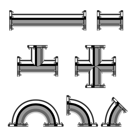 vector chrome pipes with flange Çizim