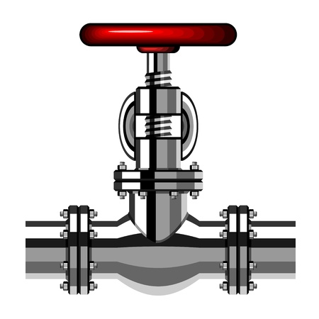 vector industrial valve chrome red Stock Vector - 19587413