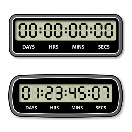 vector black LCD counter - countdown timer Stock Vector - 19587410