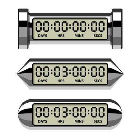 vector chrome LCD counter - countdown timer Vector