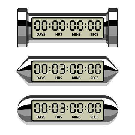 contador electrico: vector cromo Contador LCD - temporizador de cuenta regresiva