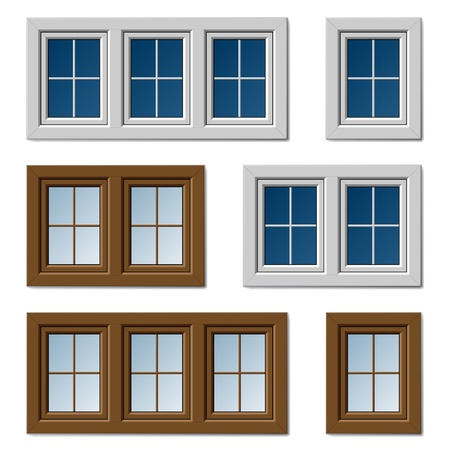 pane: vector plastic windows white brown Illustration