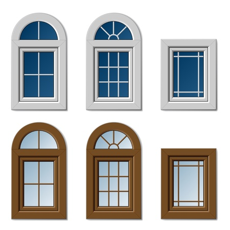 vector plastic windows white brown Çizim