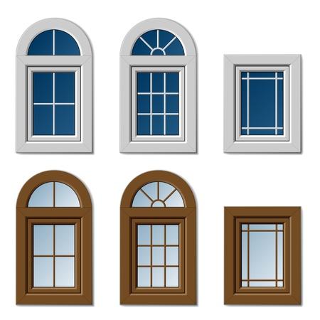 vector ventanas de plástico blanco marrón