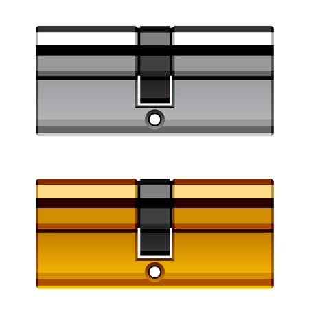 cylinder lock: vector door lock cylinder cartridge Illustration
