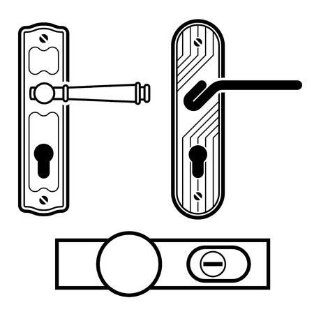 vector door handle black icons Stock Vector - 19587360