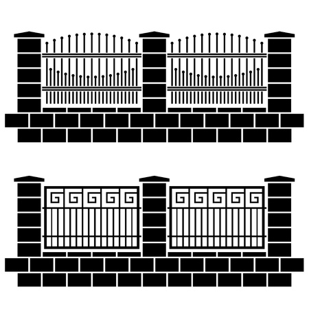 vector metal ornate fence black icons Illustration