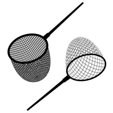 ベクトル釣りネット黒いアイコン  イラスト・ベクター素材