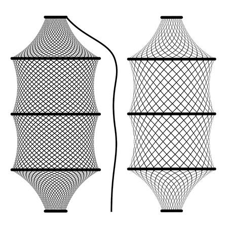 redes de pesca: vector de la pesca con redes trampa nasa coop