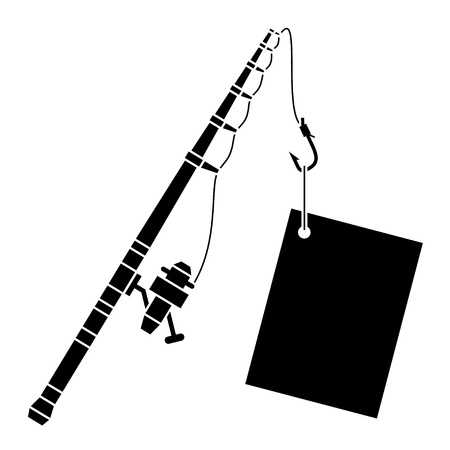 rod sign: vector black fishing rod with label Illustration