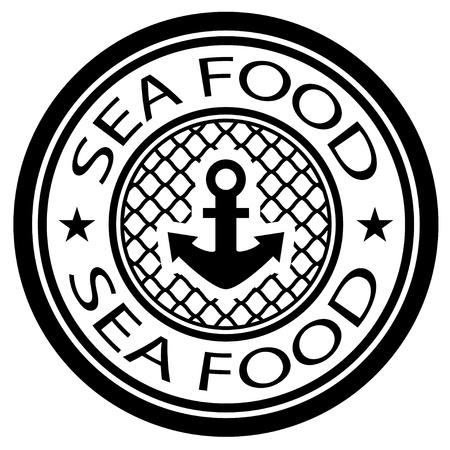 fishing net: vector sea food stamp