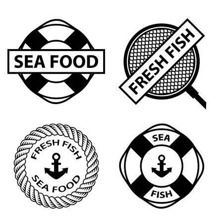 fishing net: vector sea food stamps