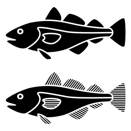 벡터 검은 대구 물고기 실루엣