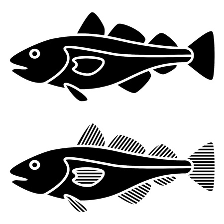 outline fish: vector black cod fish silhouettes