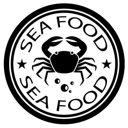 sea mark: vector sea food crab stamp