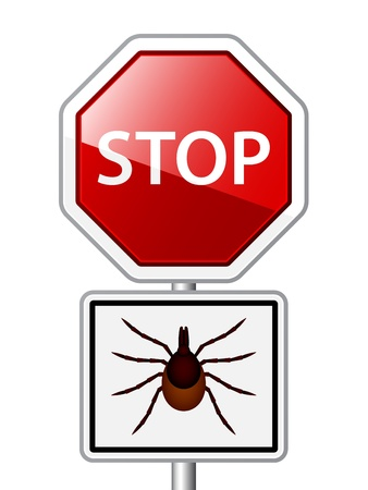 borreliosis: vector Ixodes ricinus tick road stop sign
