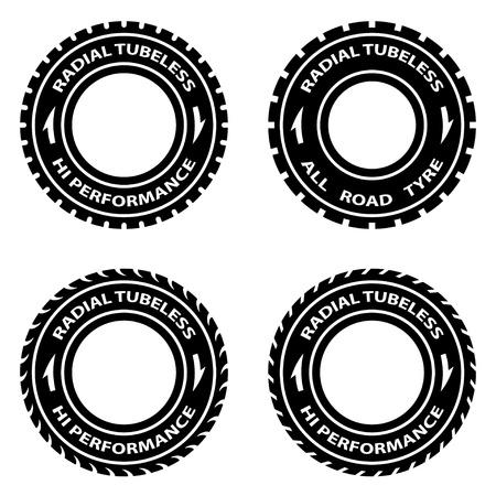 vector radial tubeless hi performance tyre symbols Stock Vector - 21166931