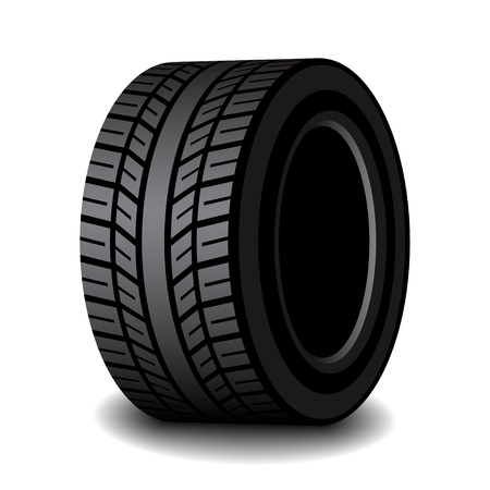 tubeless: vector rubber tyre with shadow Illustration