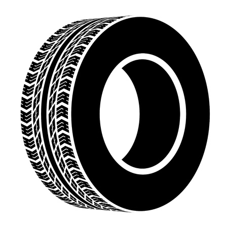 car tire: vector black terrain tyre symbol Illustration