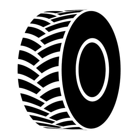 motricit�: vecteur noir pneu de tracteur symbole