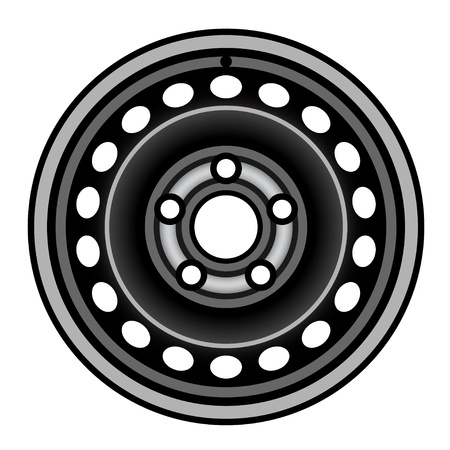 vector black car iron wheel rim Stock Vector - 21166941