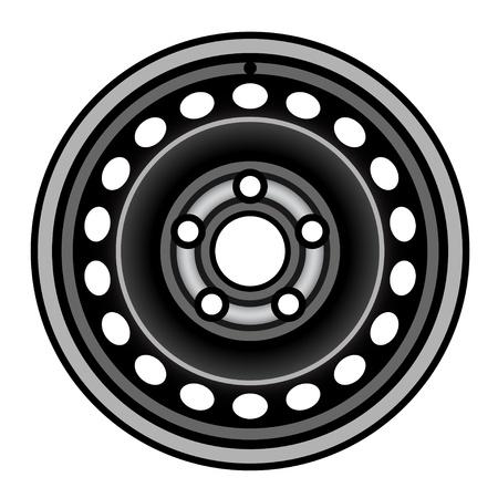 vector black car iron wheel rim Stock Vector - 21166941