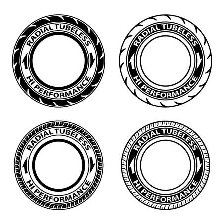 haltbarkeit: Vektor radial Schlauchlosreifen Symbole Illustration