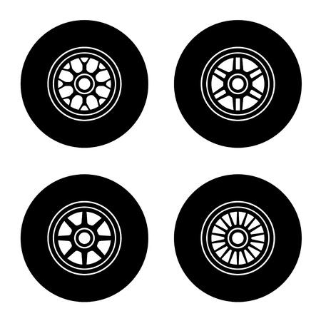 formula car: vector  wheel symbols