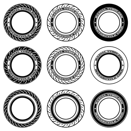 tubeless: vector radial tubeless motorcycle tyre symbols
