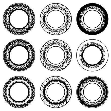 tubeless: vector radial tubeless motorcycle tyre symbols