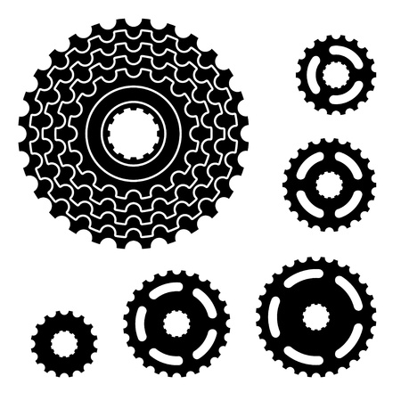 metal gears: vector bicycle gear cogwheel sprocket symbols