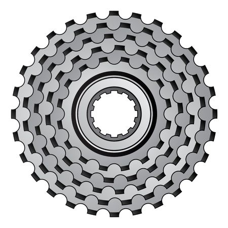 bike parts: vector bicycle gear cogwheel sprocket icon Illustration