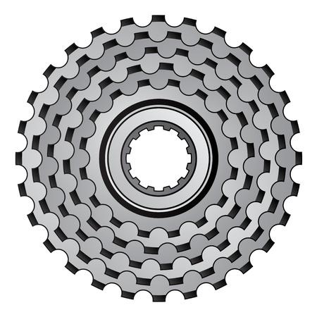 rueda dentada: vector icono del engranaje de la bicicleta rueda dentada pi��n Vectores