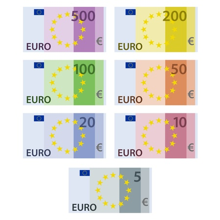 vector euro paper bill banknotes