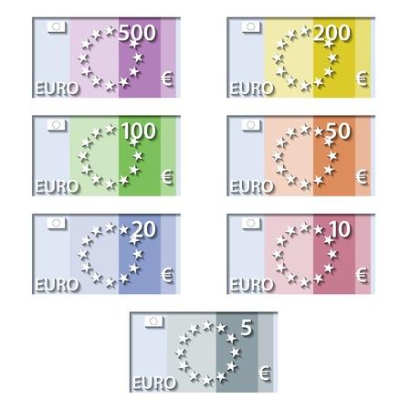 wektor stylizowane Banknoty euro papieru Ilustracje wektorowe