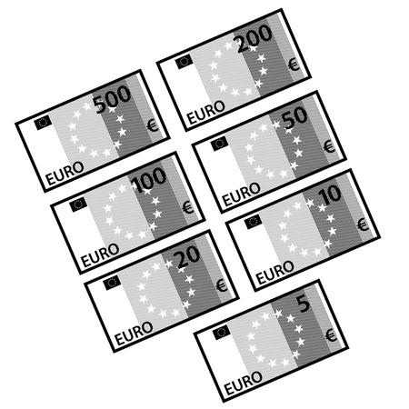 vector euro papieren factuur bankbiljetten zwart wit