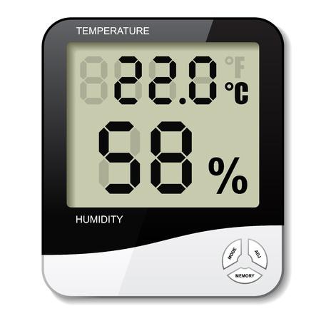 벡터 디지털 온도계, 습도계 습도 아이콘 일러스트