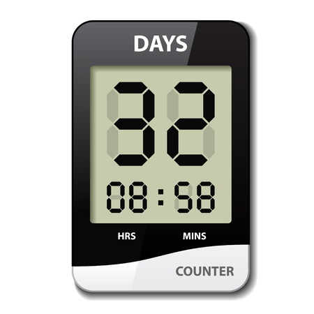 digital clock: vector black white LCD counter - countdown timer