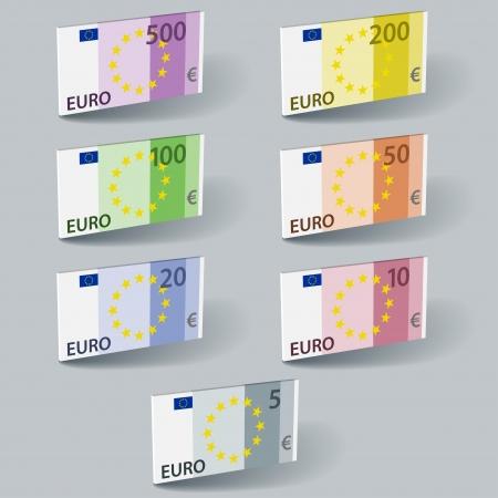 billets euros: vecteur facture papier des billets en euros avec des ombres